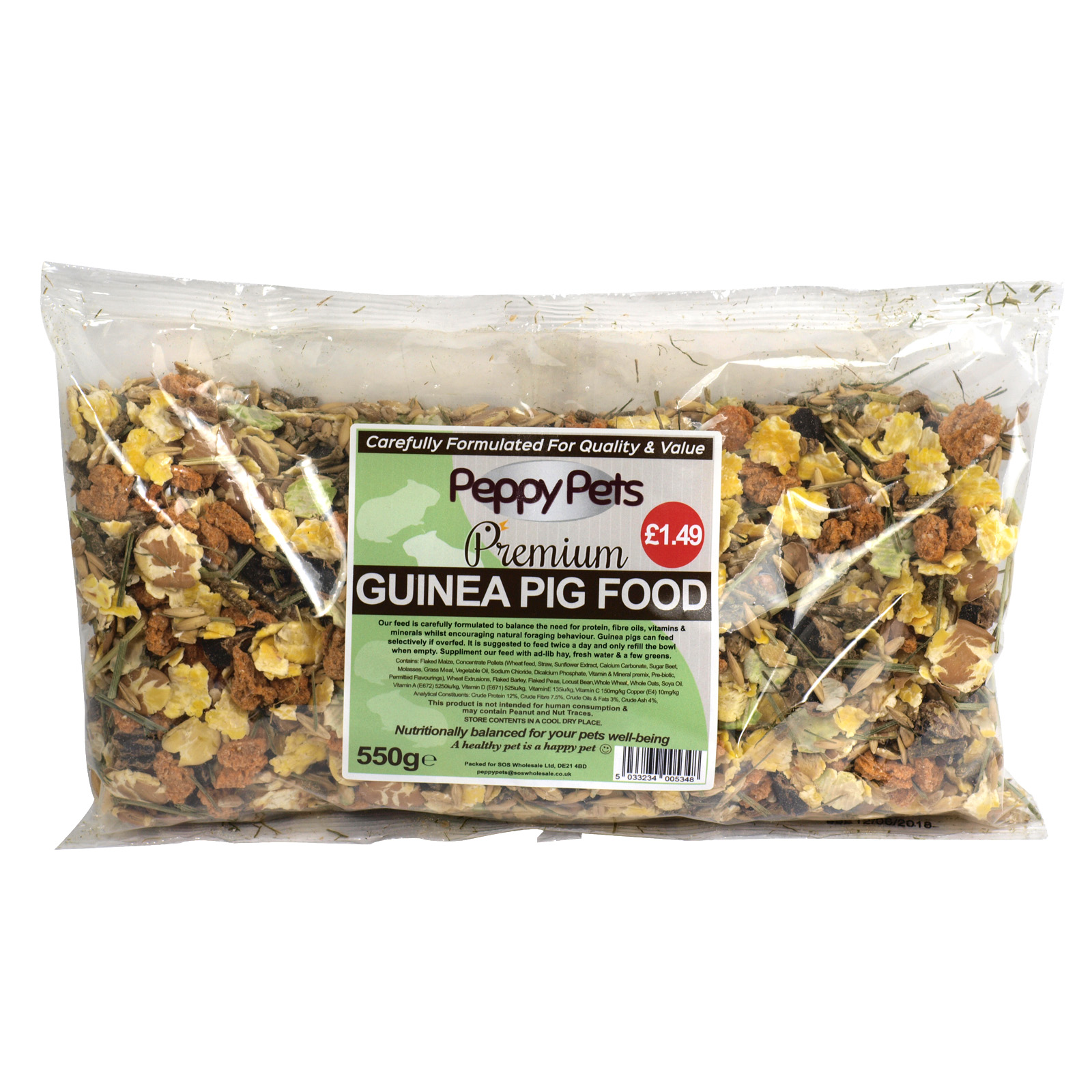PEPPY PETS GUINEA PIG FOOD PM£1.49 550GM