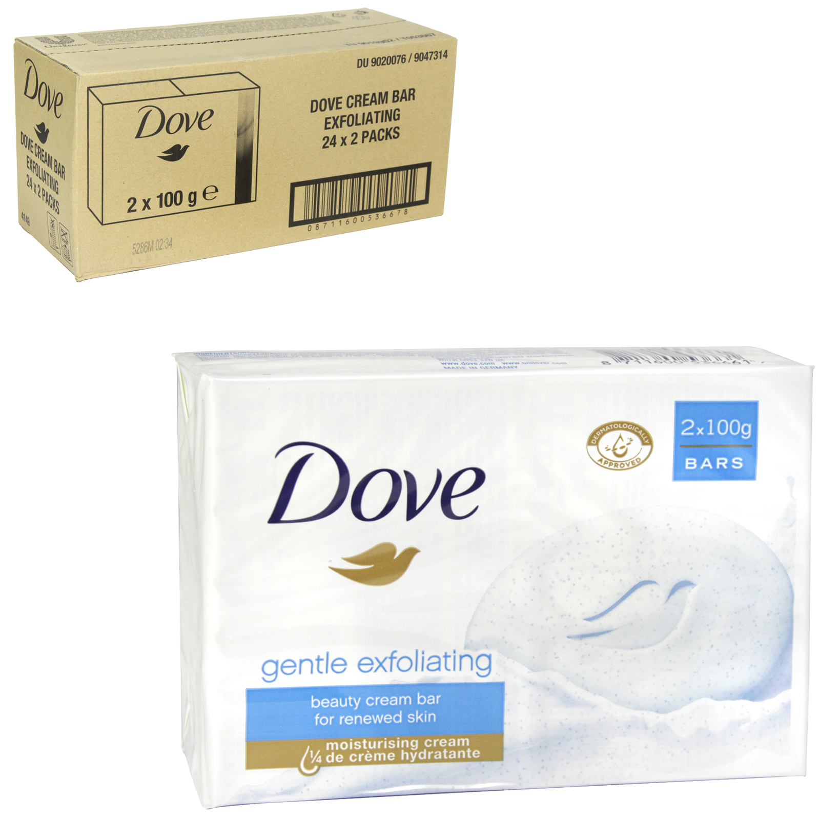 DOVE SOAP 2X100GM EXFOLIATING X 24