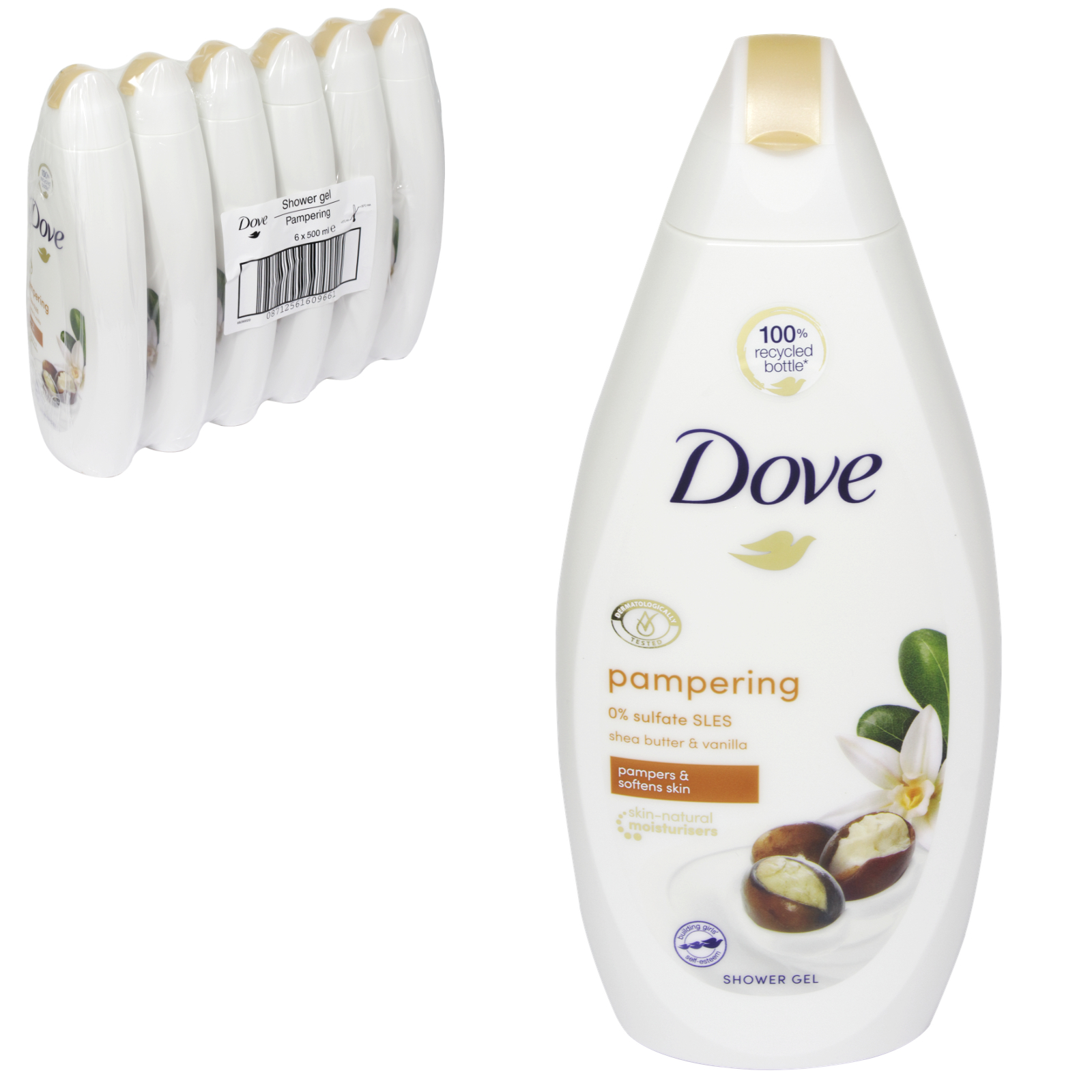 DOVE BODY WASH 500ML PURELY PAMPERING SHEABUTTER X 6