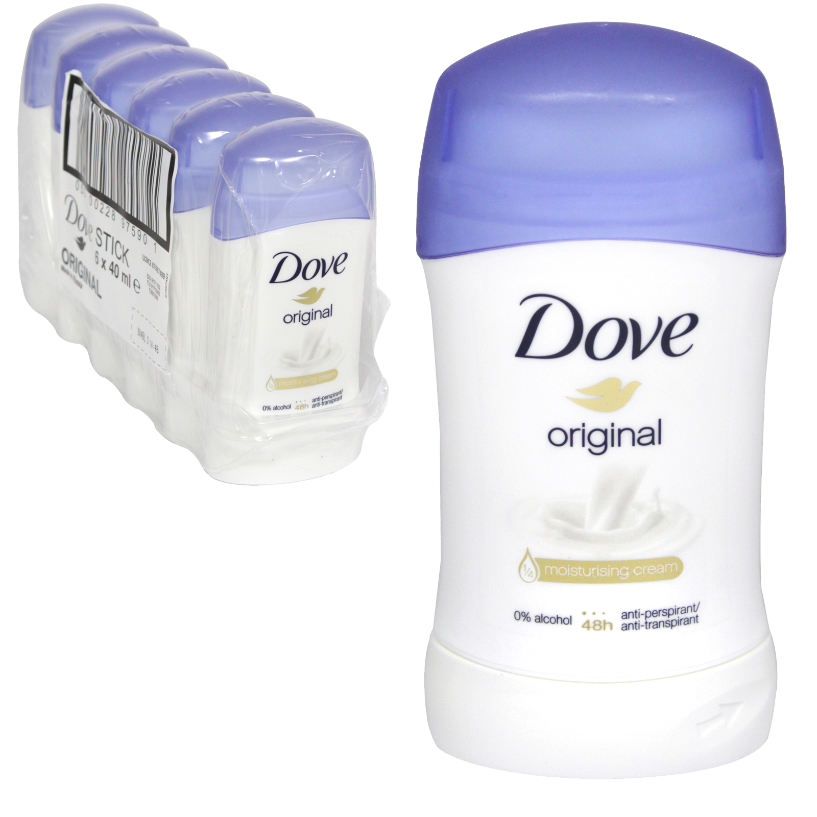 DOVE DEO STICK 40ML ORIGINAL X 6