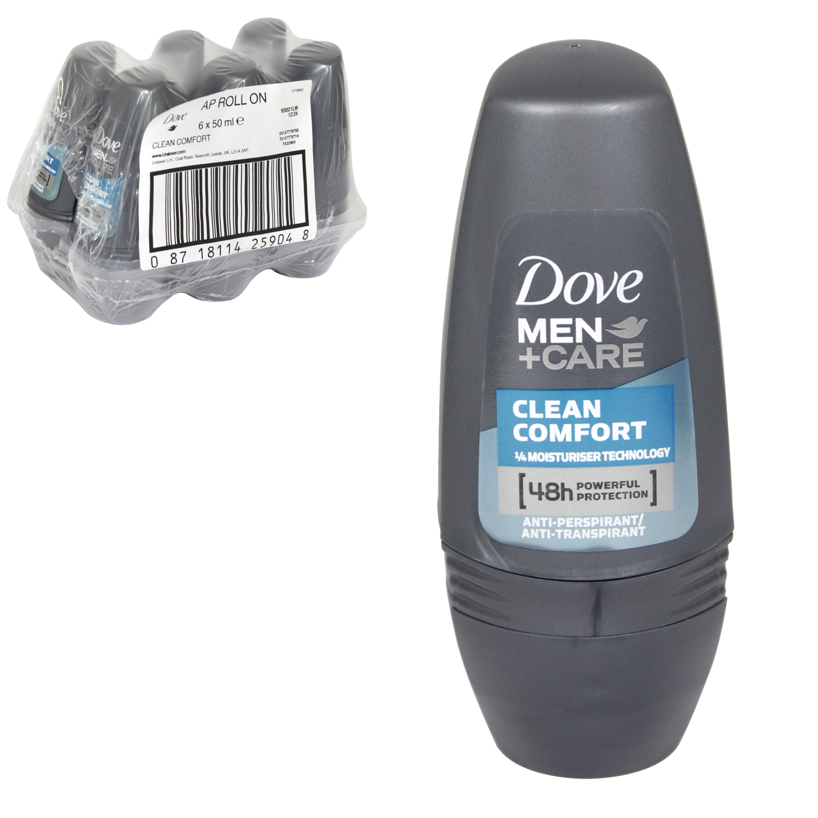DOVE MEN+CARE ROLL ON 50ML CLEAN COMFORT X 6