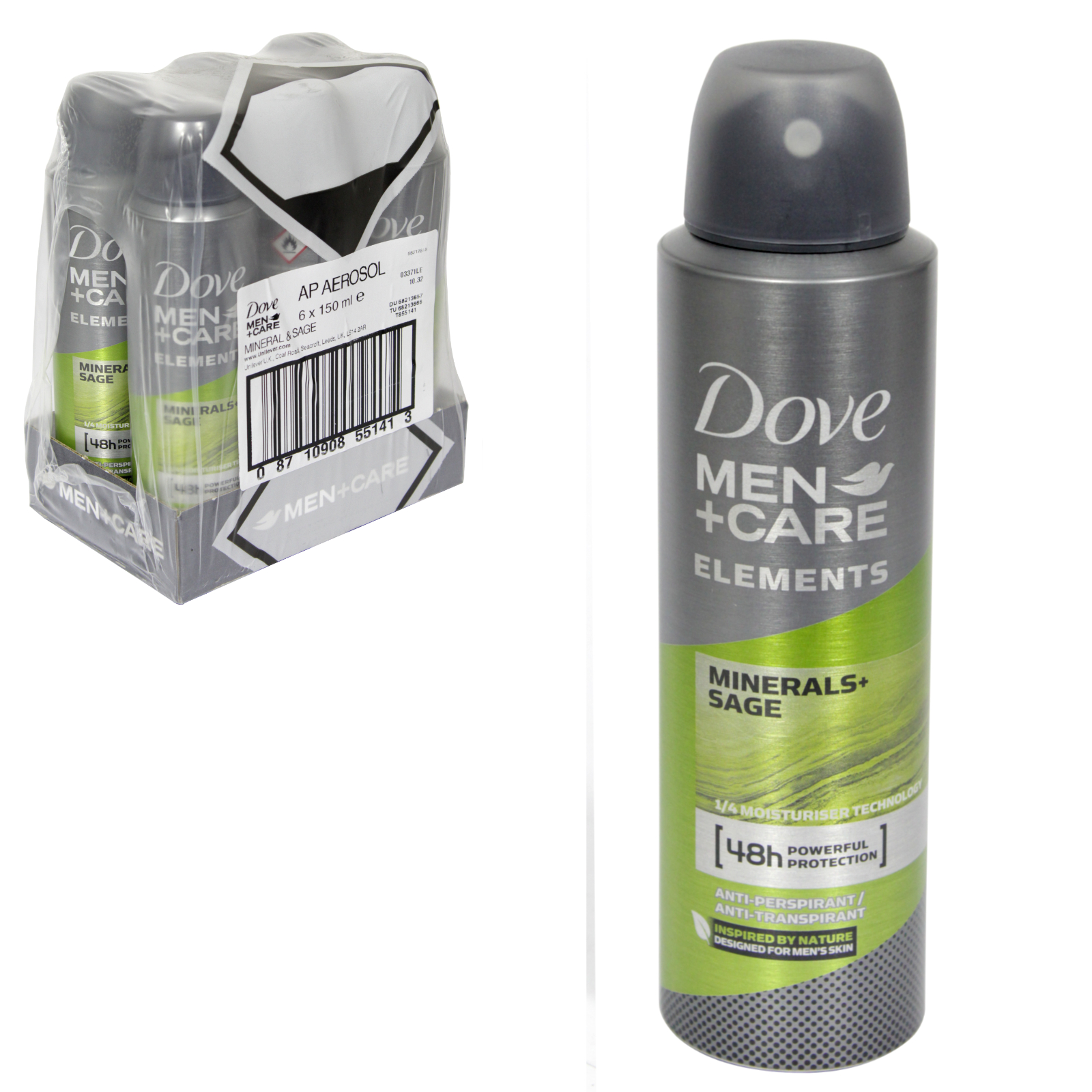 DOVE MEN+CARE APA 150ML MINERALS+SAGE X 6