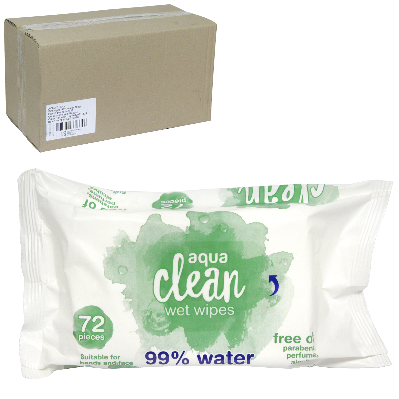 AQUA CLEAN WET WIPES 72'S 100% BIODEGRADABLE 99% WATER FREE OF PARBENS X12