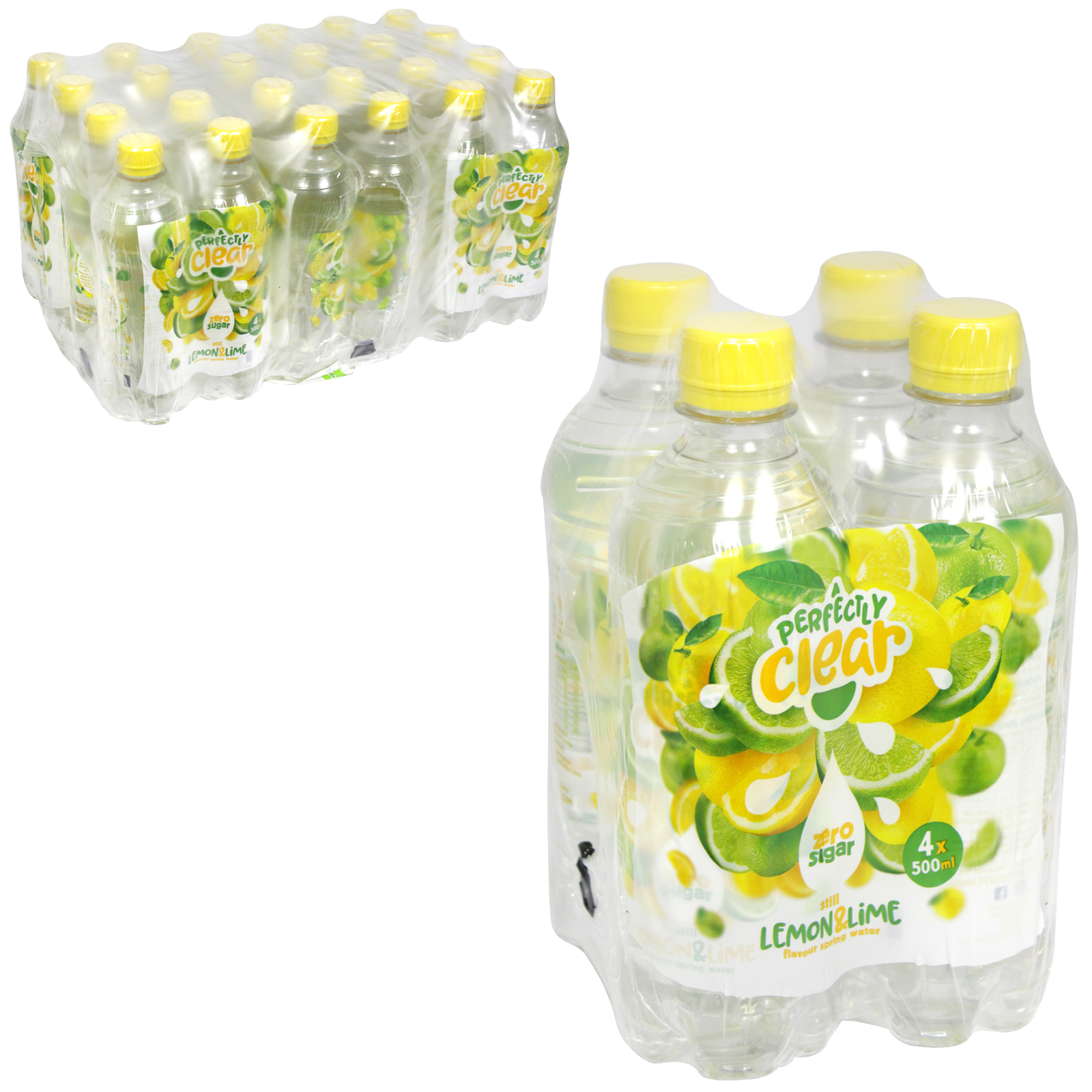 PERFECTLY CLEAR WATER STILL 4X500ML LEMON+LIME X6