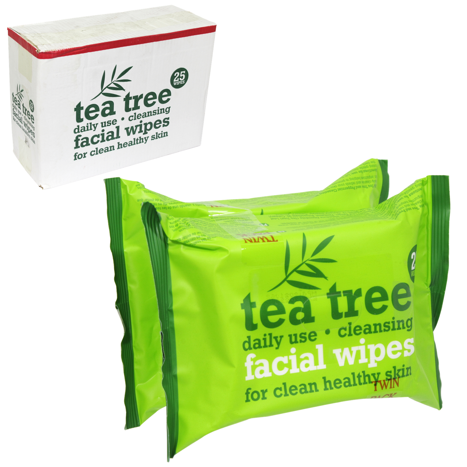 TEA TREE CLEANSING FACE WIPES 2X25'S X12
