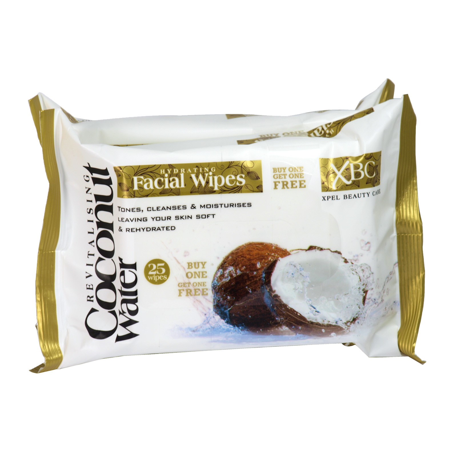 XBC COCONUT WATER HYDRATING FACE WIPES 2X25'S X12