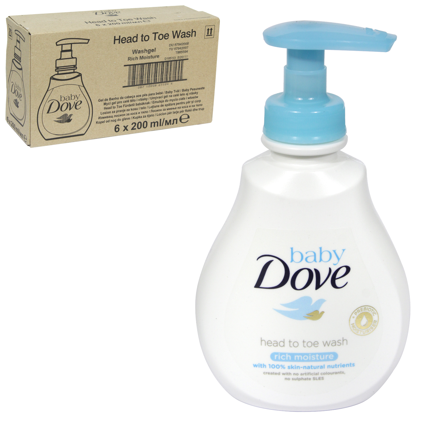 DOVE BABY WASH  HEAD TO TOE 200ML X6