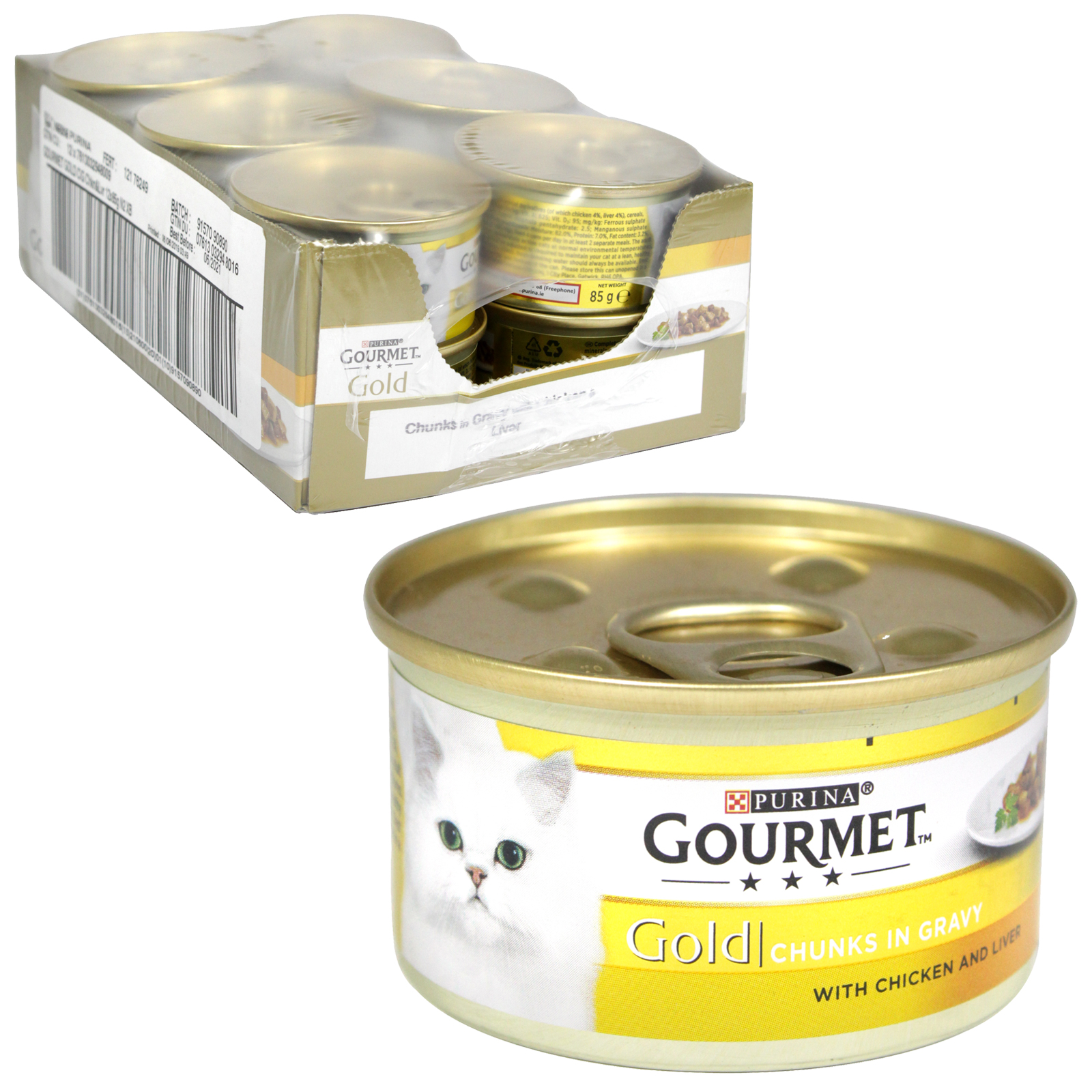 GOURMET GOLD CAT 85GM CHUNKS IN GRAVY WITH CHICKEN+LIVER X12