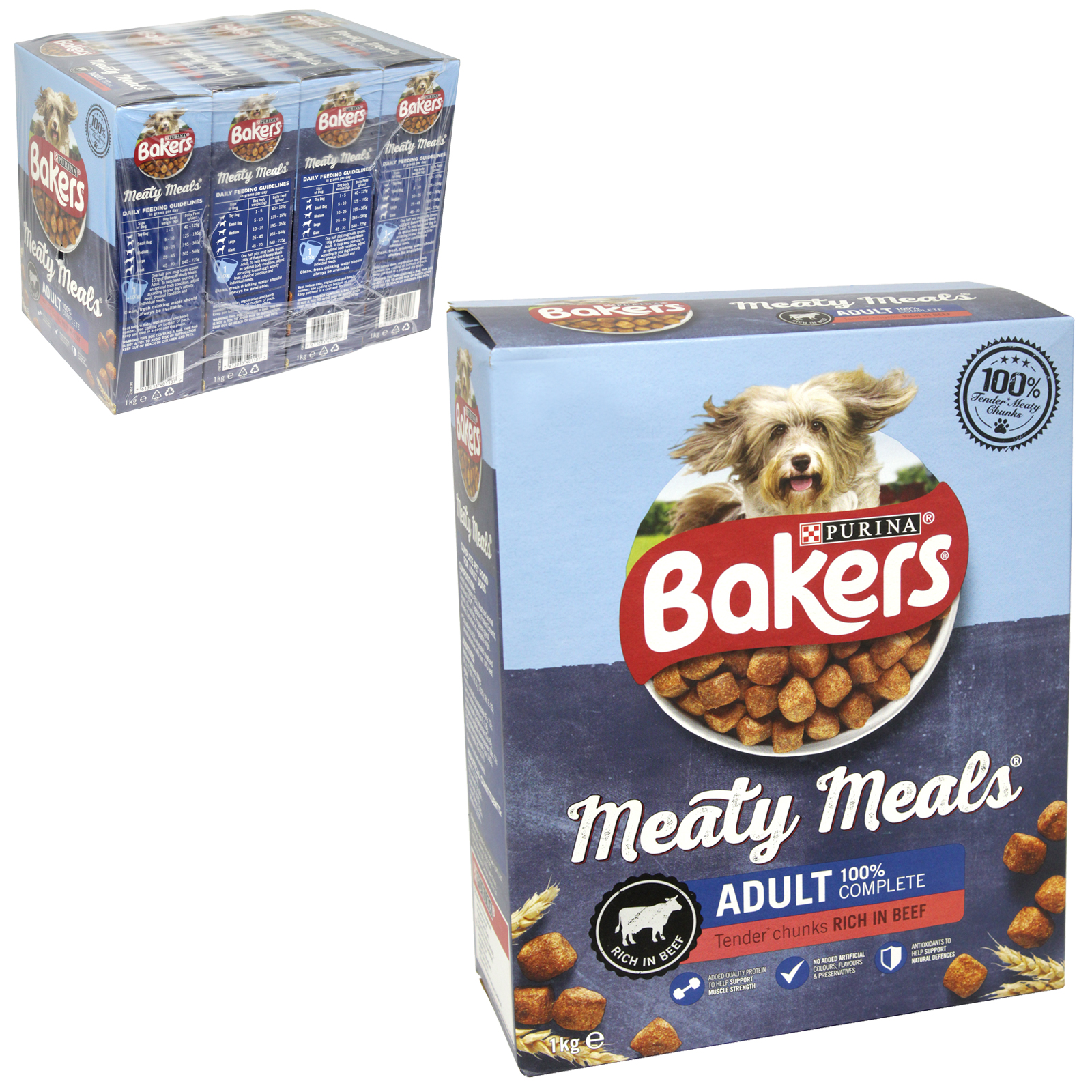 BAKERS MEATY MEALS 1KG ADULT BEEF X4