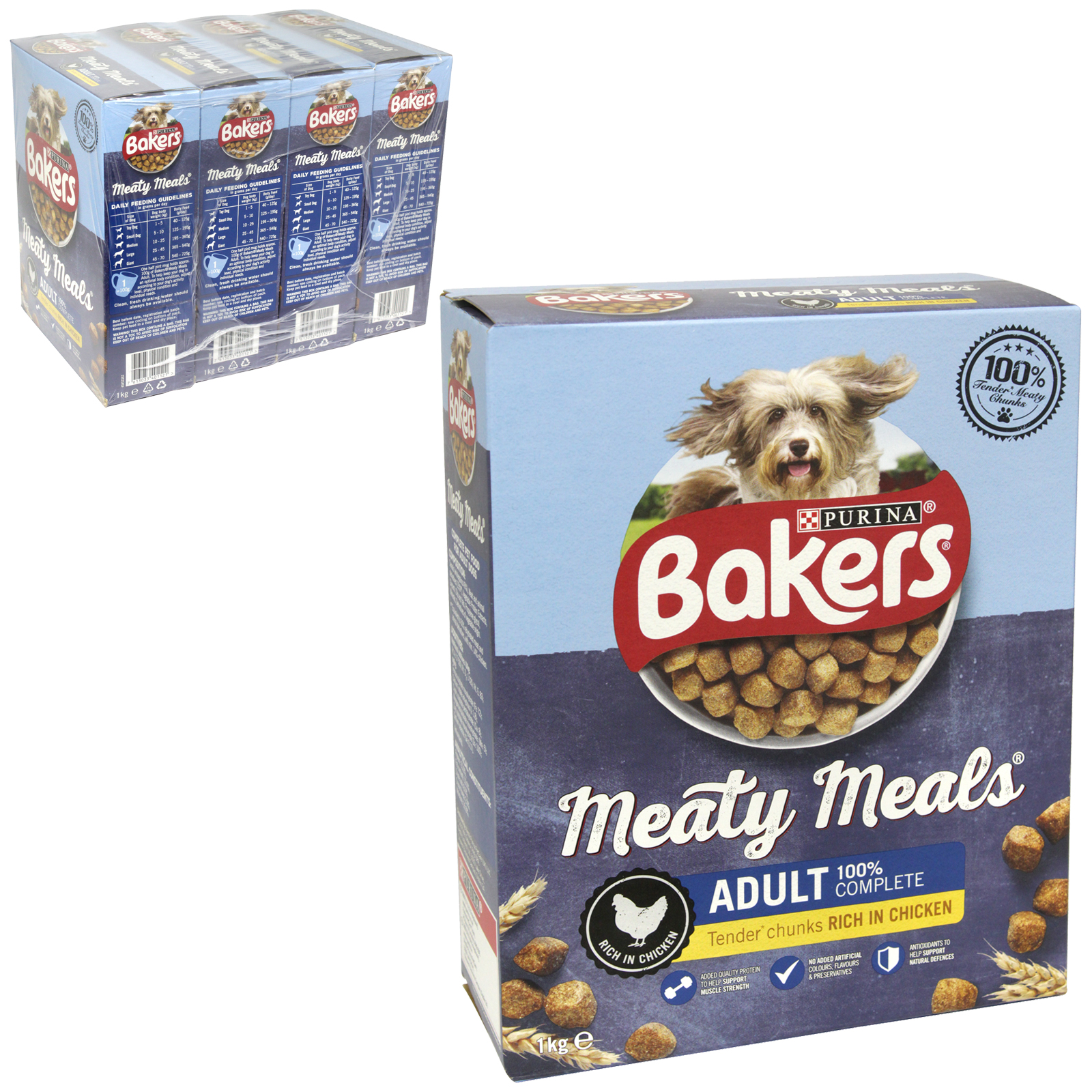 BAKERS MEATY MEALS 1KG ADULT CHICKEN X4