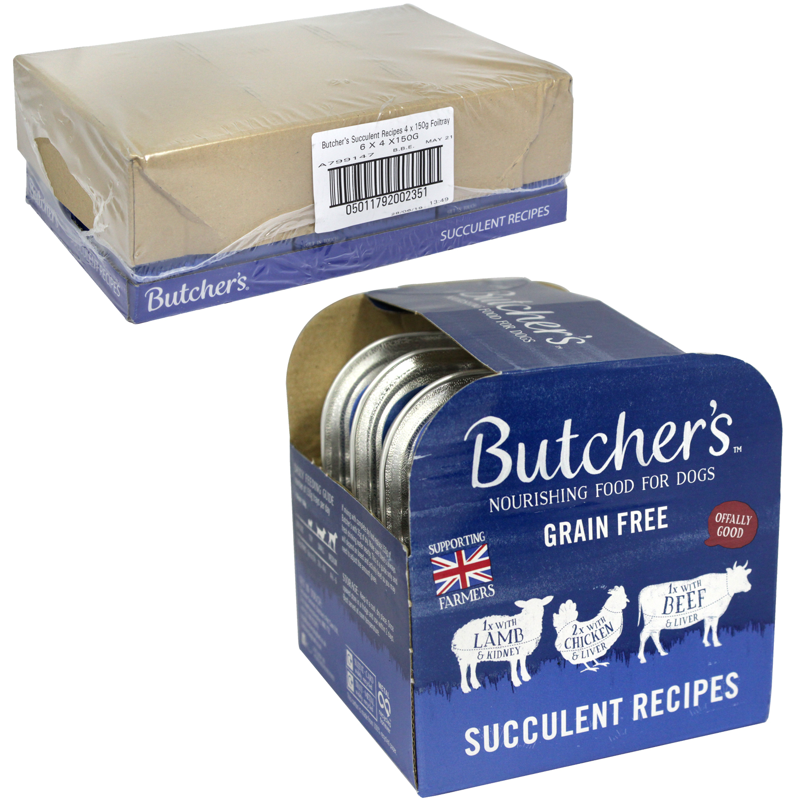 BUTCHERS DOG TRAYS 4X150GM SUCCULENT RECIPIES X6