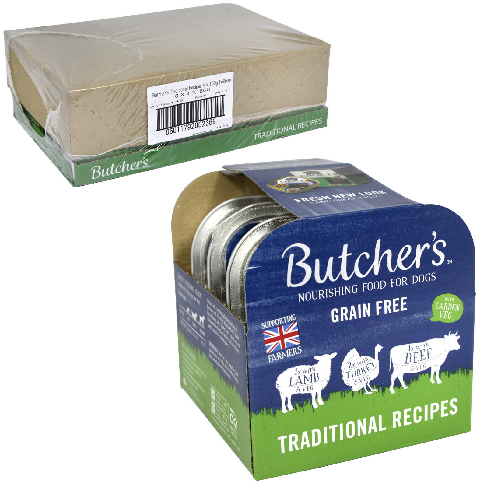 BUTCHERS DOG TRAYS 4X150GM TRADITIONAL RECIPIES X6