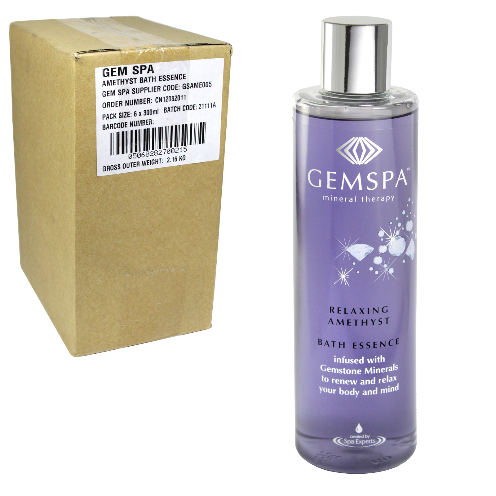 GEMSPA AMETHYST BATH ESSENCE 300ML X6