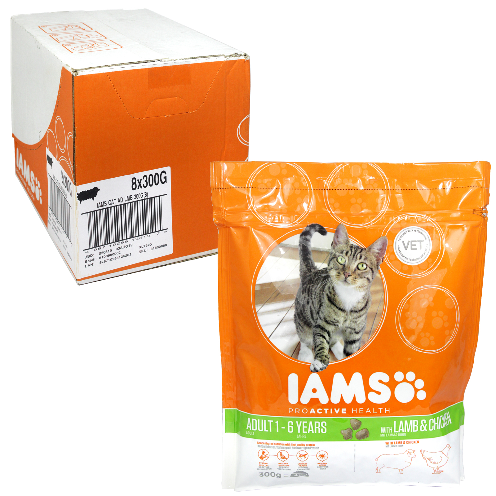 IAMS ADULT CAT 300GM POUCH LAMB+CHICKEN X8