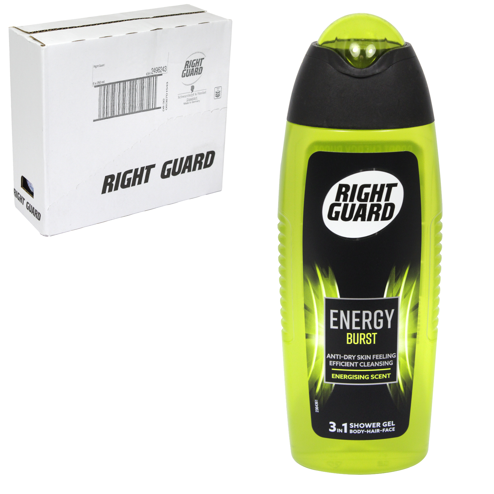RIGHT GUARD 3IN1 SHOWER GEL 250ML ENERGY BURST ENERGISING SCENT X6