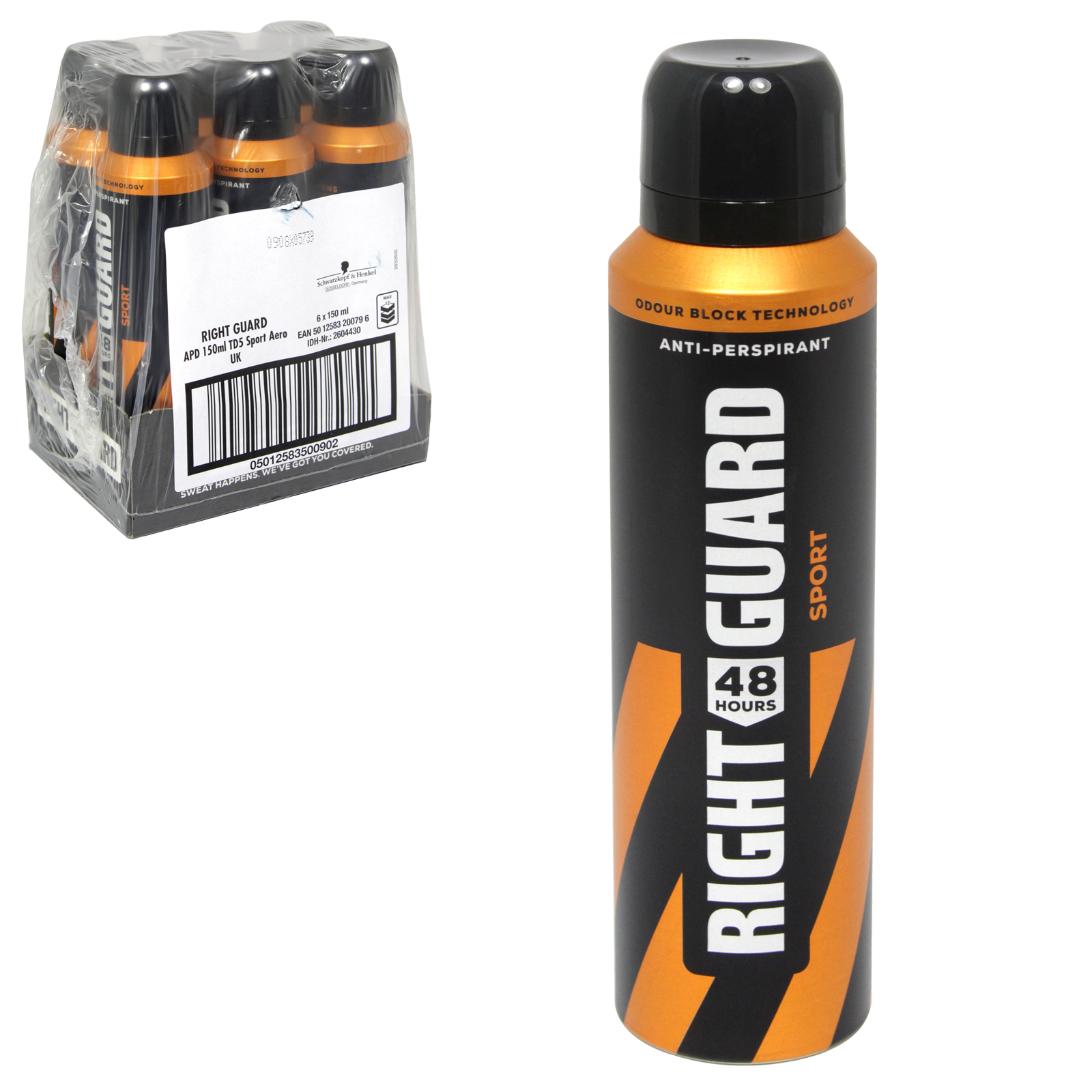 RIGHT GUARD TOTAL DEFENCE 48HR APA 150ML MEN SPORT X6