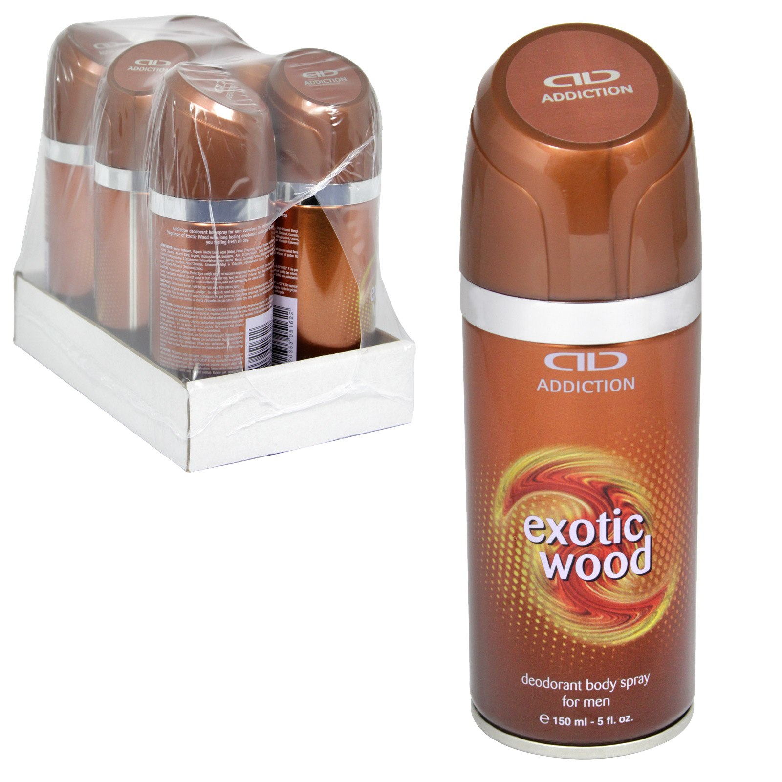 ADDICTION CLASSIC MENS DEO BODY SPRAY 150ML EXOTIC WOOD X6