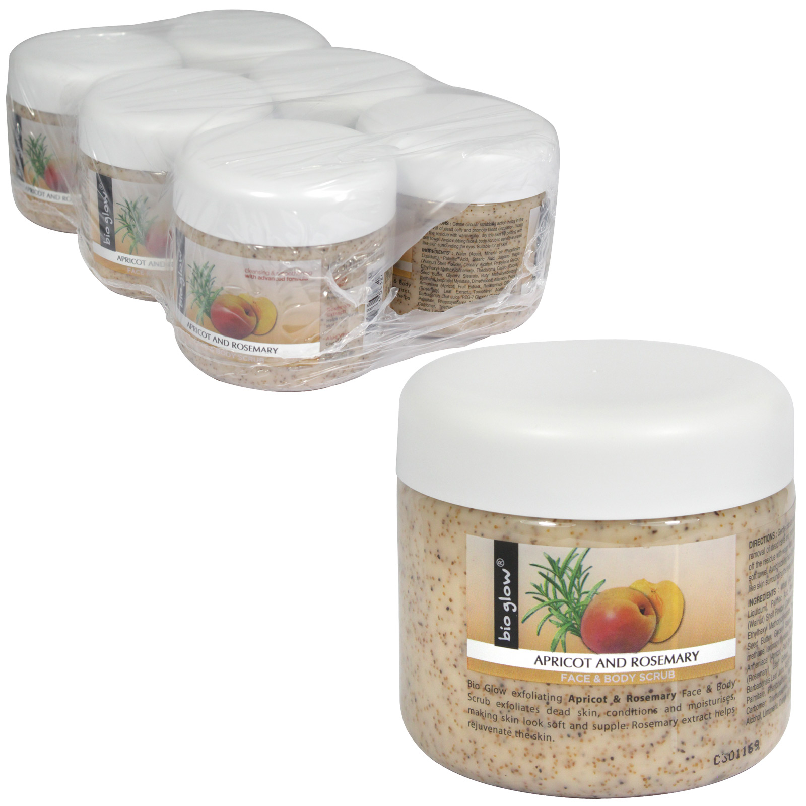 BIOGLOW BODY+FACE SCRUB 300ML APRICOT+ROSEMARY X6