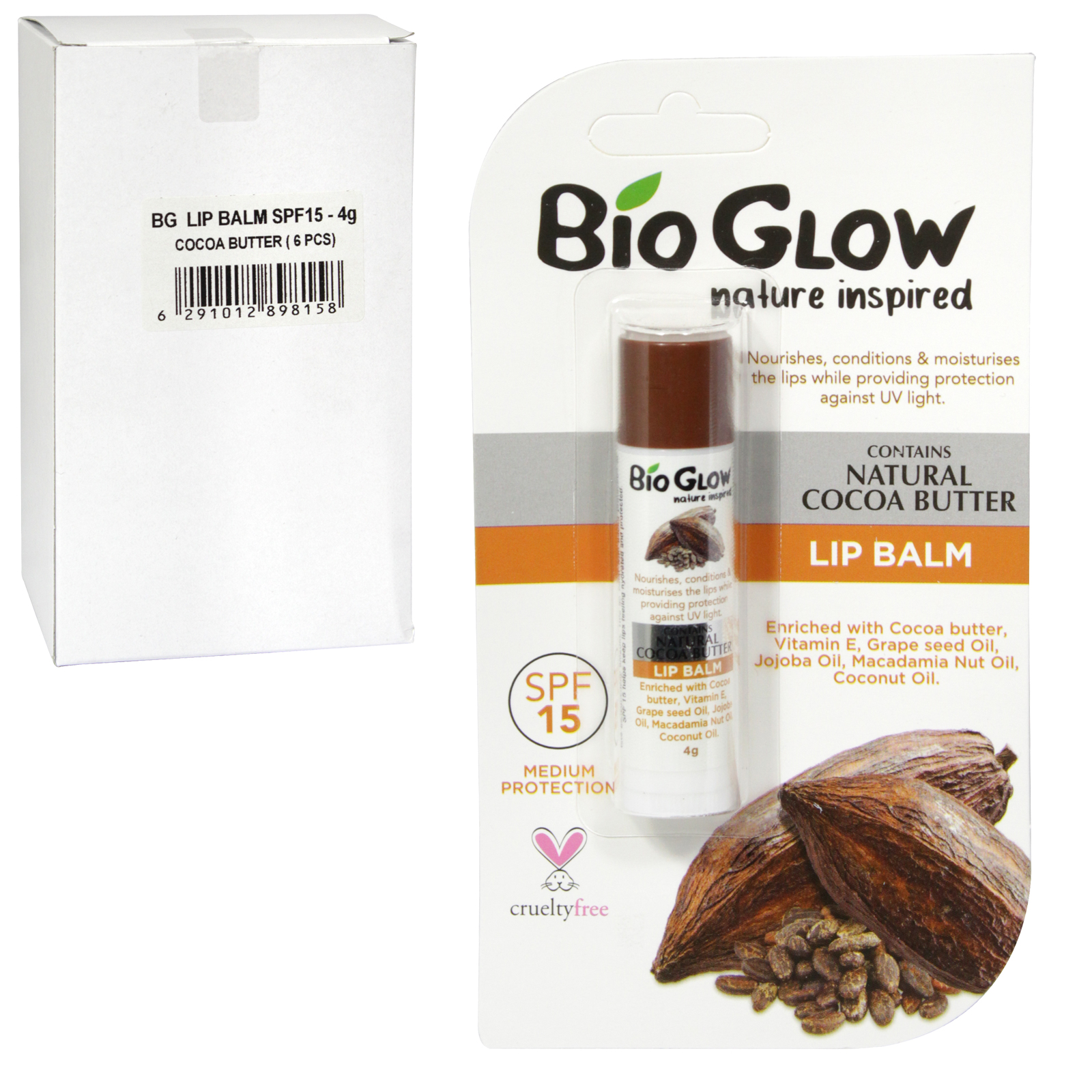 BIOGLOW CRUELTY FREE+VEGAN FRIENDLY LIP BALM 4GM COCOA BUTTER SPF15 X6