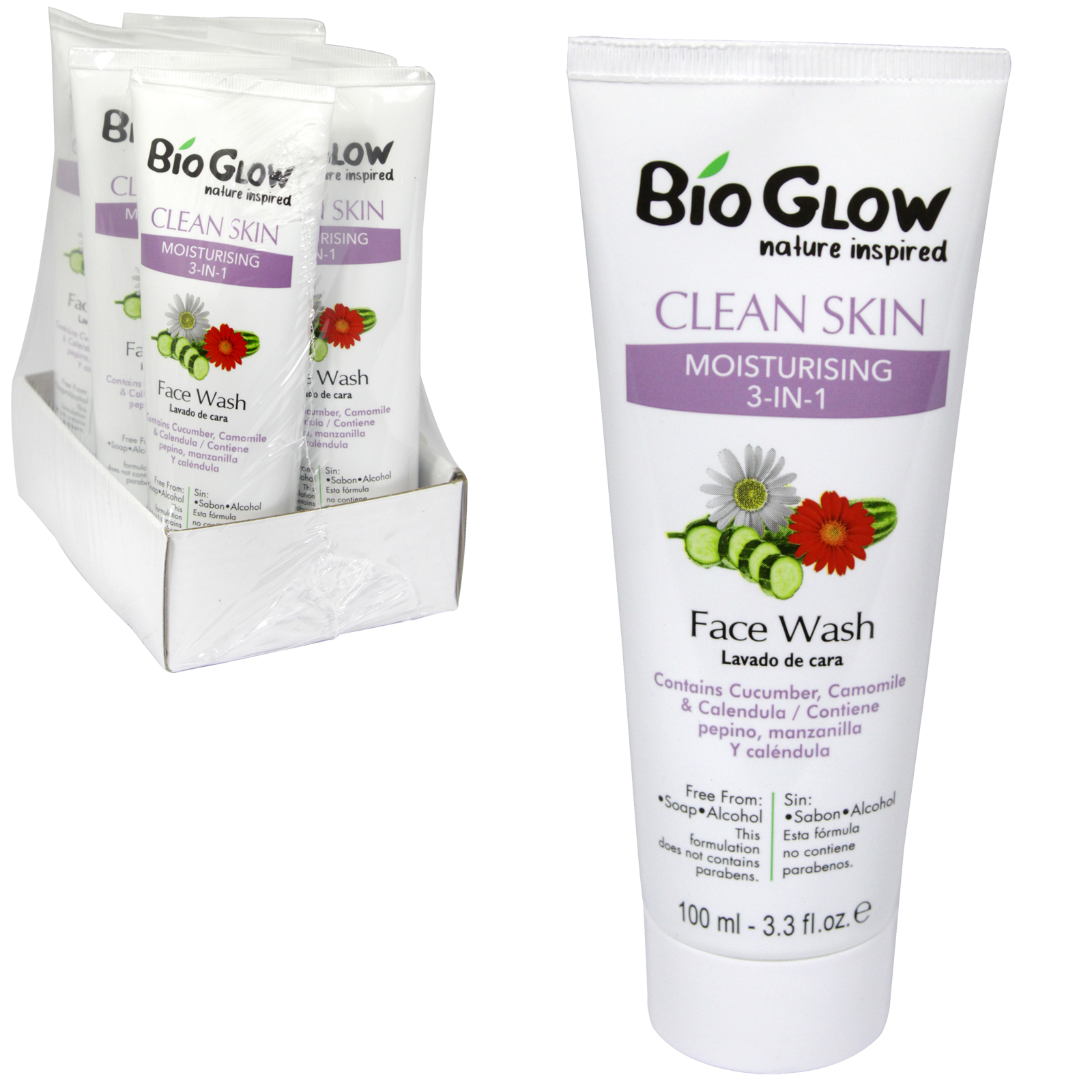 BIOGLOW CRUELTY FREE+VEGAN FRIENDLY FACE WASH 100ML MOISTURISING 3IN1 X6