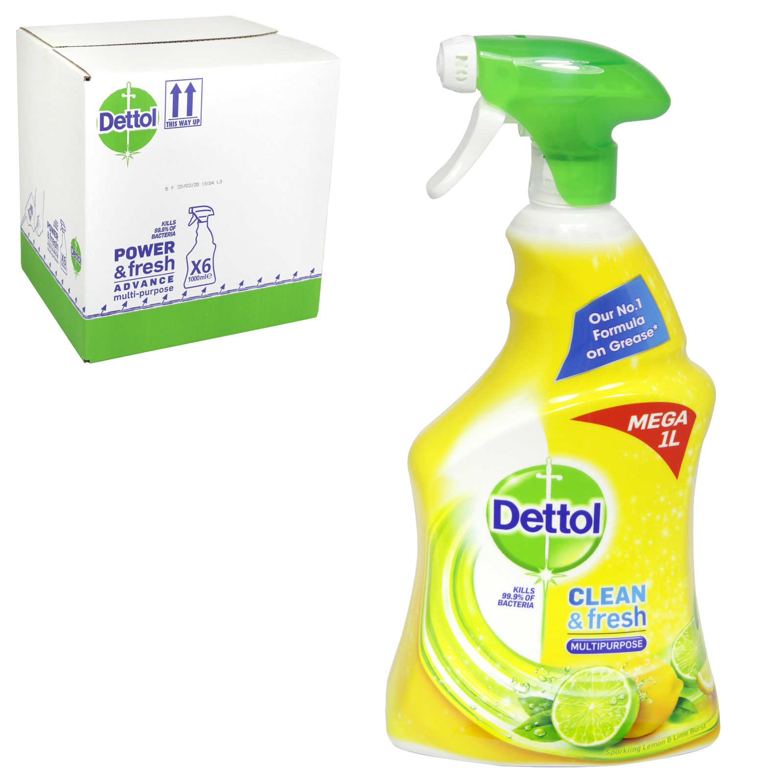 DETTOL POWER+FRESH ADVANCED 1L MULTI-P SPRAY CITRUS KILLS 99.9% BACTERIA X6