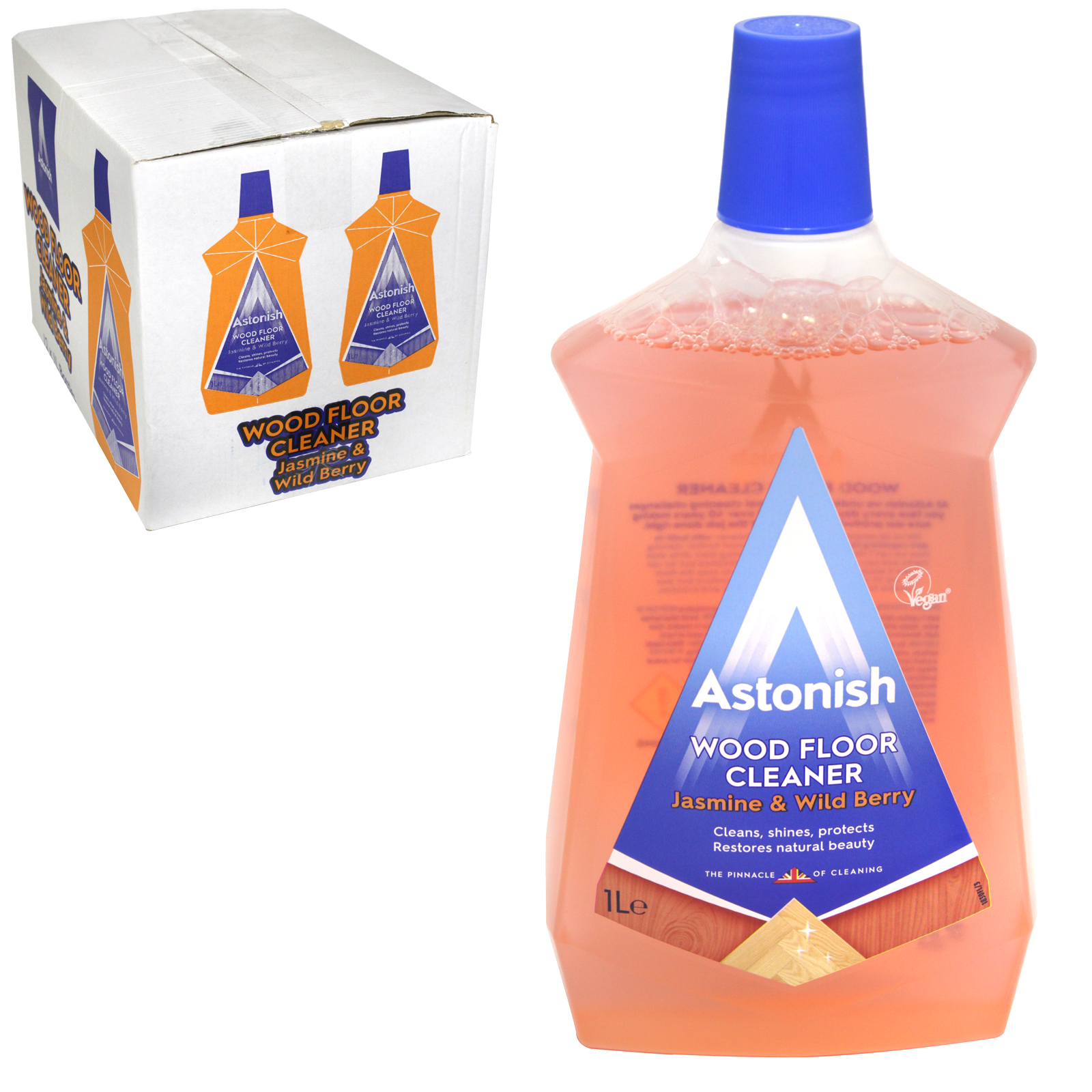 ASTONISH 1L FLOOR CLEANER FOR WOOD JASMINE & WILD BERRY X12