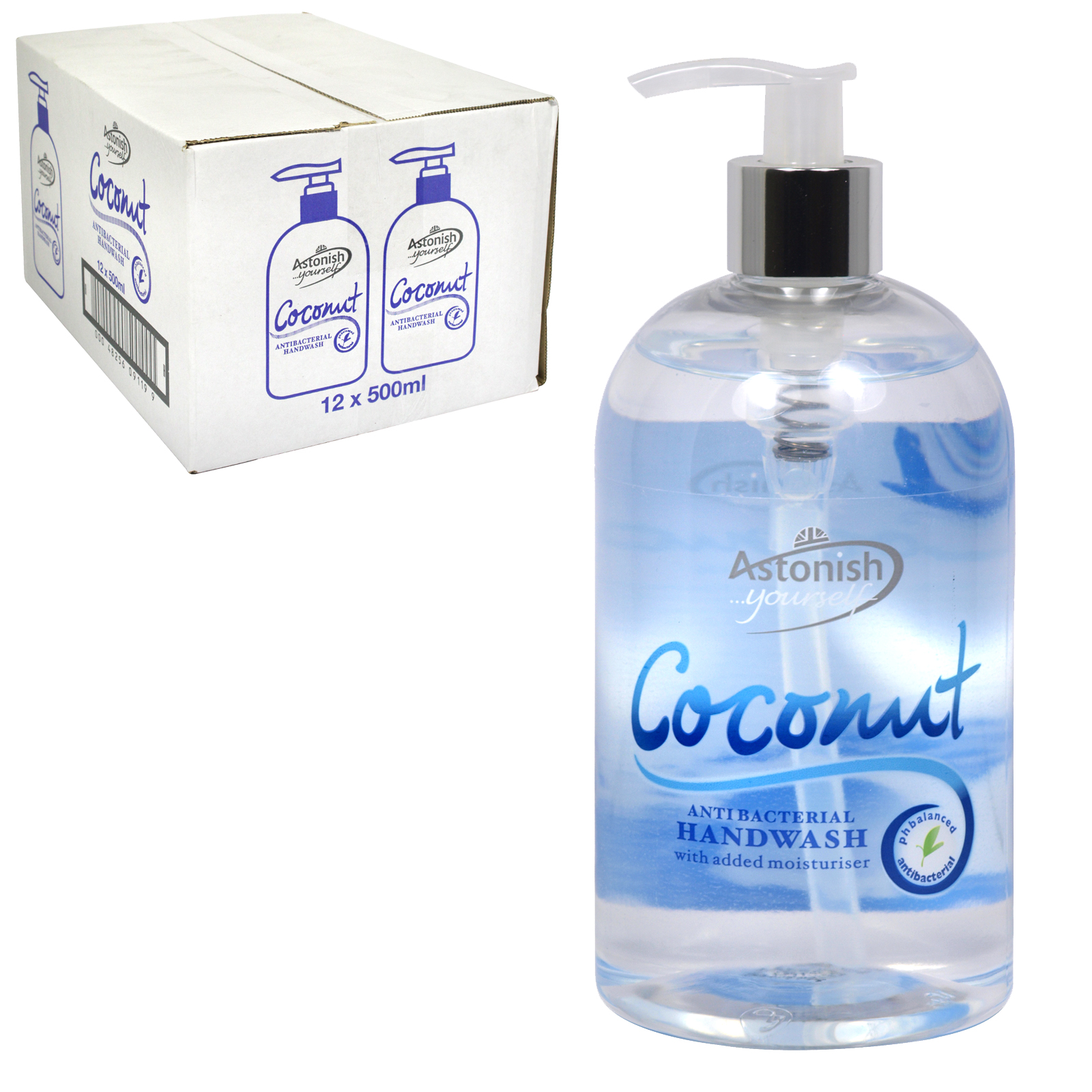 ASTONISH ANTI-BAC HANDWASH 500ML COCONUT X12