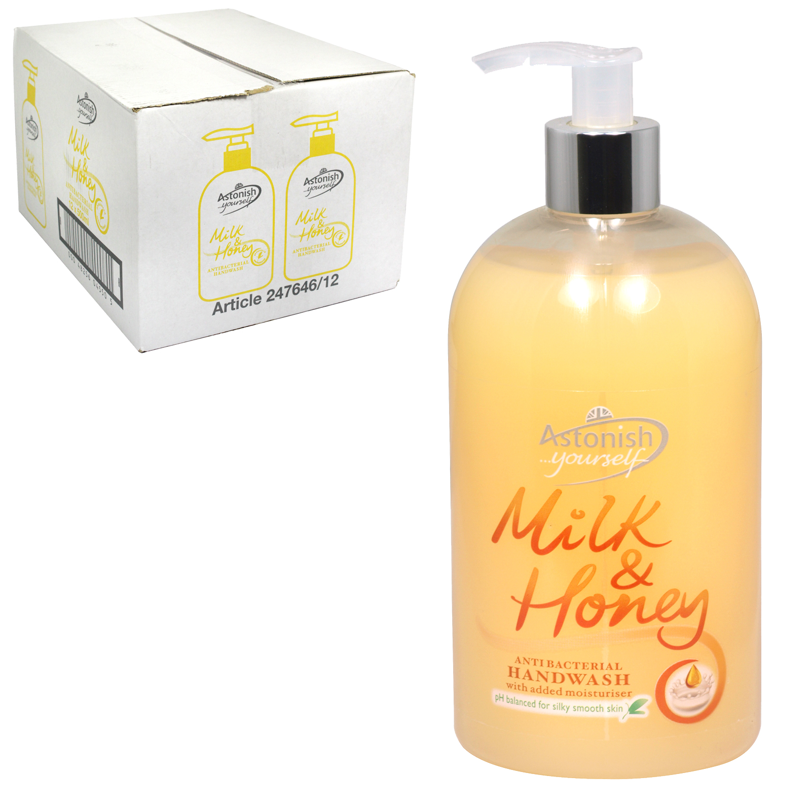 ASTONISH ANTI-BAC HANDWASH 500ML MILK+HONEY X12