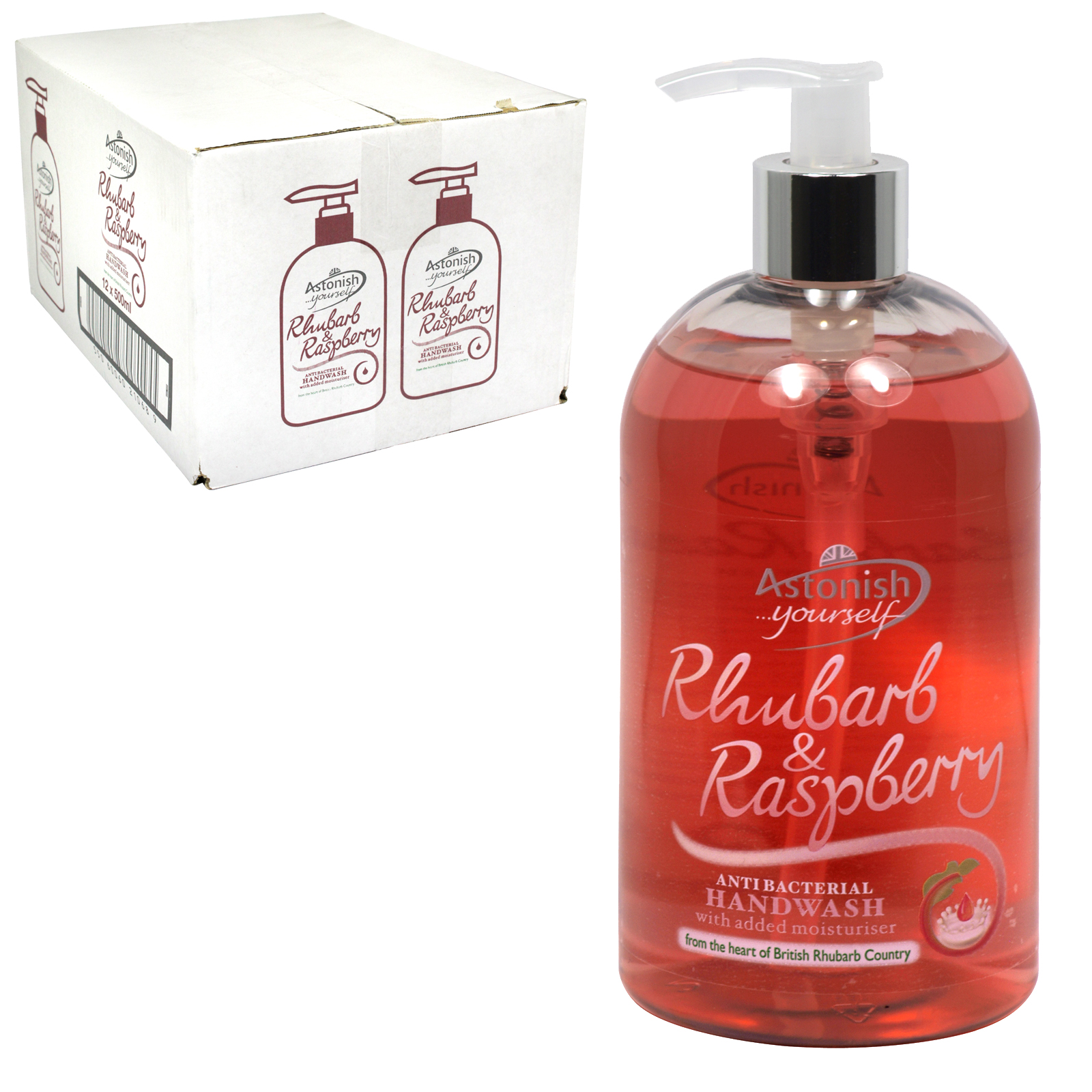 ASTONISH ANTI-BAC HANDWASH 500ML RHUBARB+RASPBERRY X12