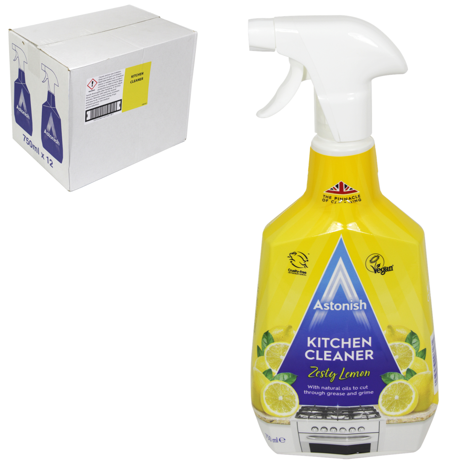 ASTONISH 750ML KITCHEN CLEANER ZESTY LEMON X12