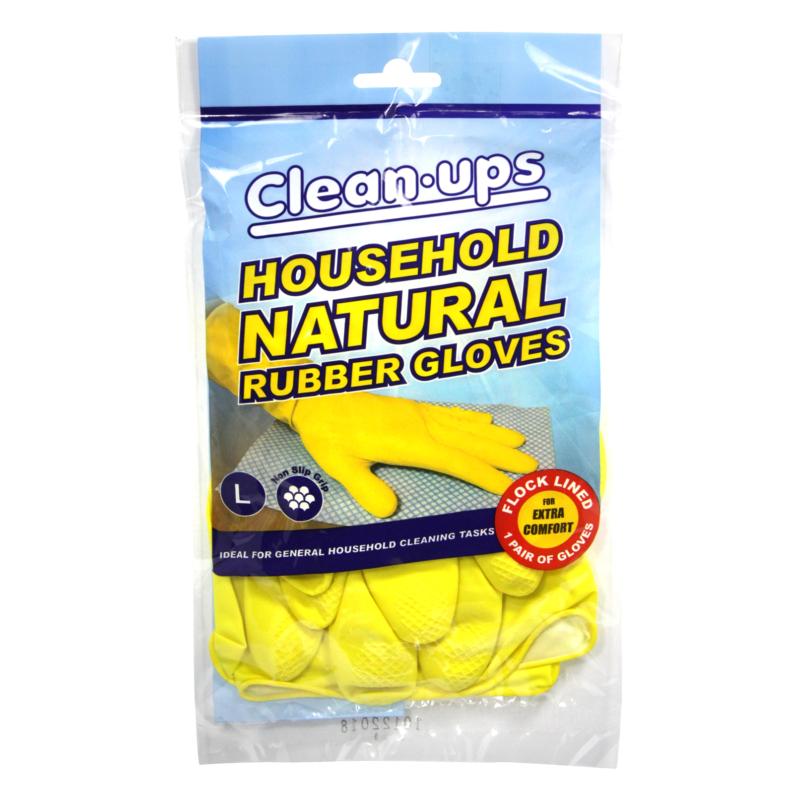 CLEAN-UPS RUBBER GLOVES FLOCK LINED LARGE X10