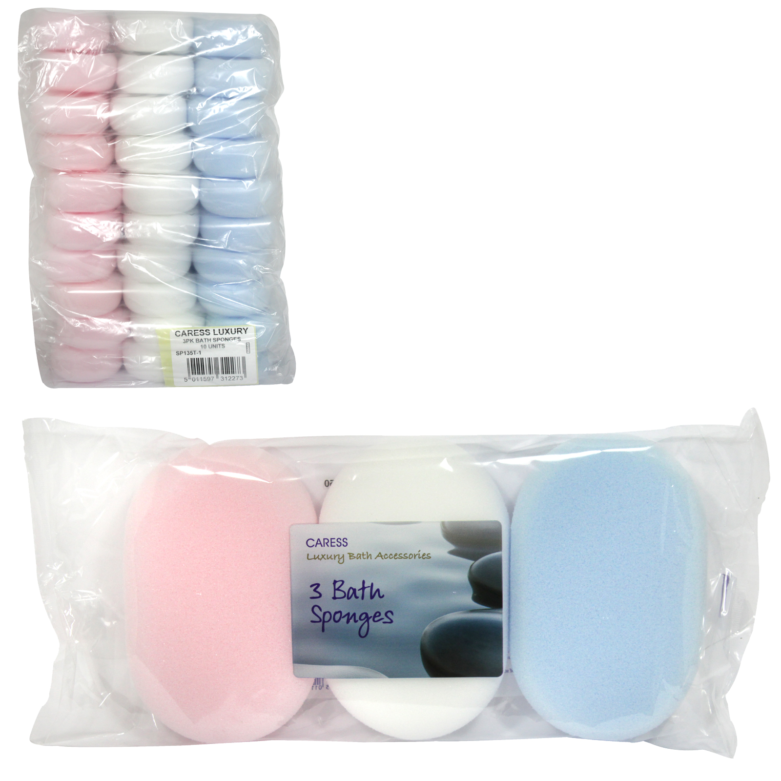 CARESS LUXURY 3PK BATH SPONGE X10