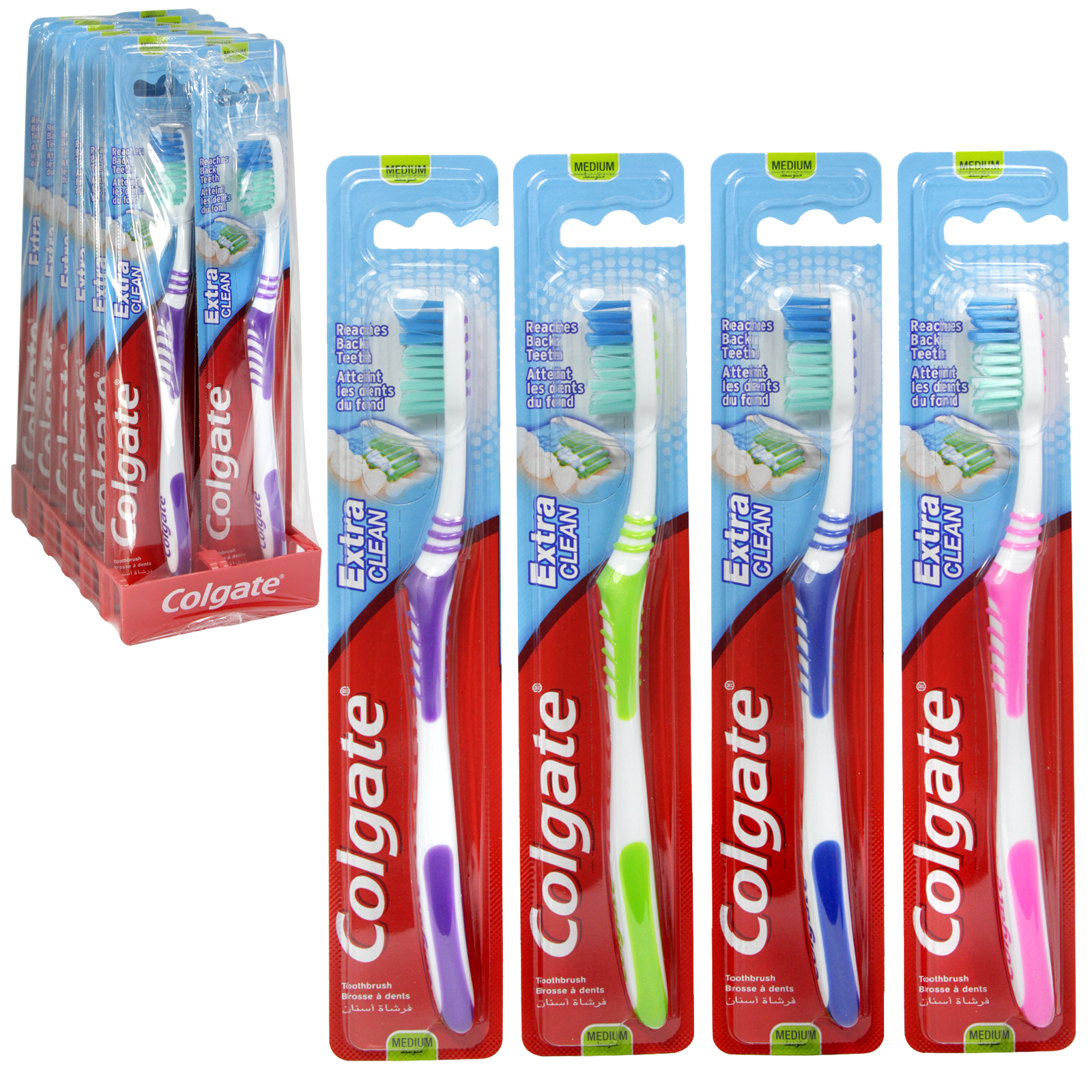 COLGATE TOOTHBRUSHES EXTRA CLEAN MEDIUM X12